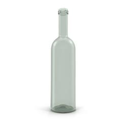 Empty Wine Bottle on white. 3D illustration