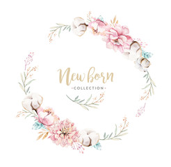 Watercolor boho floral wreath with cotton. Bohemian natural frame: leaves, feathers, flowers, Isolated on white background. Artistic decoration illustration. Save the date, weddign design