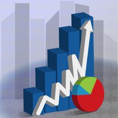 Business rising bar graph symbol logo vector