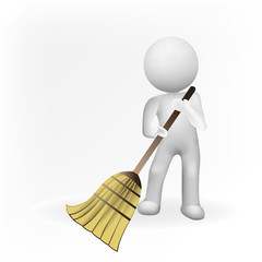 Logo 3D white people man with broom. Concept of Janitorial business logo id card vector image