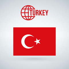 turkey flag vector illustration isolated on modern background with shadow.