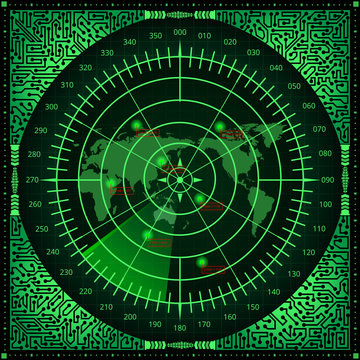 Digital radar screen with world map, targets and circuit board elements of green shades on dark background