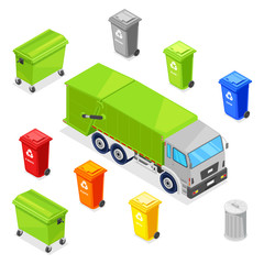 Sorting and recycling waste. Garbage multicolor baskets, bin, container and garbage truck, vector 3d isometric icons set
