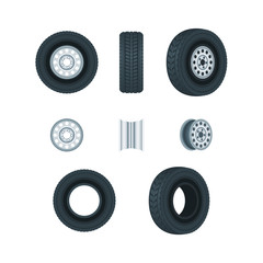 Automobile wheels, tires and discs, vector icons set. Car service design elements