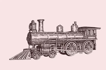 Retro  locomotive ,vector sepia,transport,vintage train