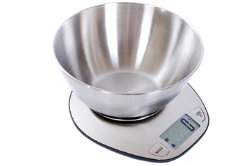 Kitchen scale on white background close-up