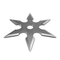Steel Shuriken on white. 3D illustration