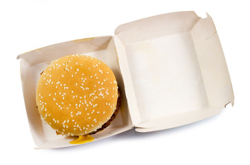 Burger box, fast food unhealthy eating concept, fast food snacks isolated in white background top view with clipping path.