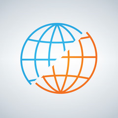 Blue and orange shifted or devided world globe icon. war or peace concept. separation. Vector illustration isolated on modern background.