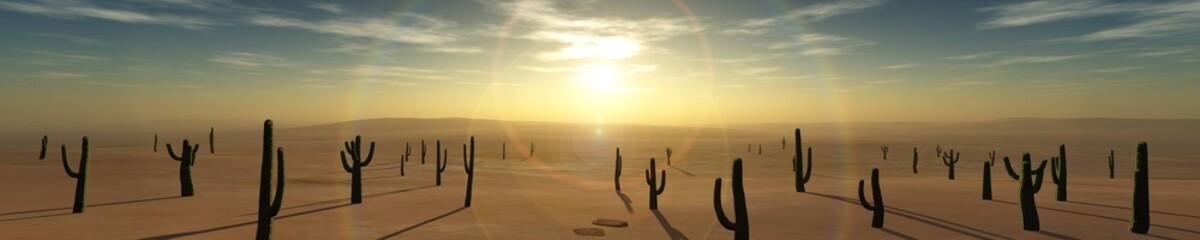 desert of sand at sunset, 3D rendering