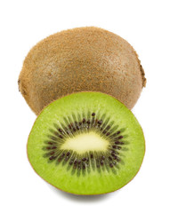 Fresh kiwi fruit and half slice of kiwi fruit isolated on white background.