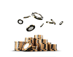 Golden casino poker chips stacks isolated on white background. Game concept. 3D rendering