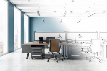 Sketch of modern office interior