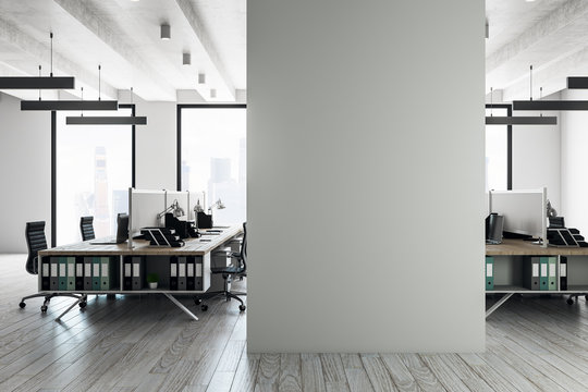 Modern coworking interior with copyspace