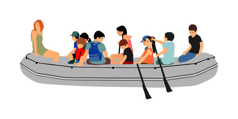 Happy kids rafting with rubber boat vector. Children beach fun. Girls and boys enjoying rowing on river on inflatable boat. Friends paddling. Nice childhood. Young crew outdoor relaxing. Summer active