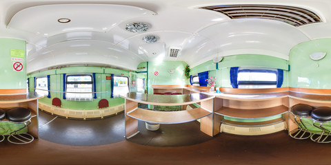 3D spherical panorama with 360 viewing angle. Ready for virtual reality or VR. Full equirectangular projection. Interior of train. Dining car.