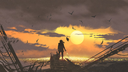 the pirate with a sword standing on ruins of boat and looking at golden treasures at sunset, digital art style, illustration painting
