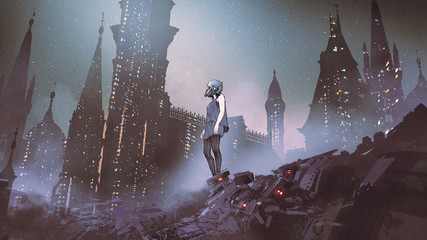 cyborg woman standing on piles of electronic waste against futuristic city, digital art style, digital painting