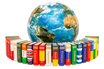 Languages Books with Earth Globe, 3D rendering