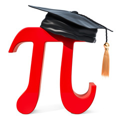 Letter pi with graduation cap, 3D rendering