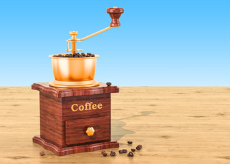 Manual coffee grinder with coffee beans on the wooden table, 3D rendering
