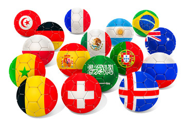 Set of soccer ball with flags, 3D rendering