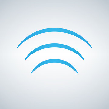 WIFI signal waves Icon Vector flat design style in blue color, isolated on modern background.