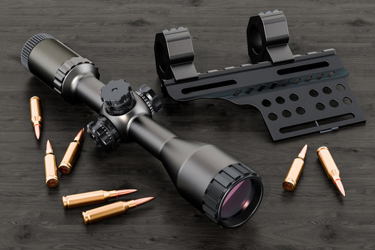 Telescopic sight, scope with bullets and mount on the wooden table. 3D rendering