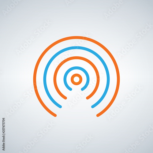wifi signal circle waves icon vector flat design style in blue and