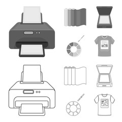 Scanner, color palette and other equipment. Typography set collection icons in outline,monochrome style vector symbol stock illustration web.