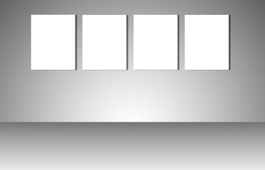 Empty white posters on gray background