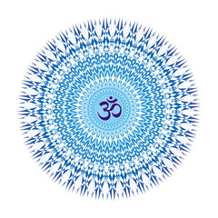 Openwork mandala in blue tones with the sign Aum / Om / Ohm. Circular ornament. Vector graphics.