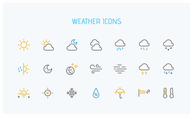 Modern weather icons set. Flat vector symbols