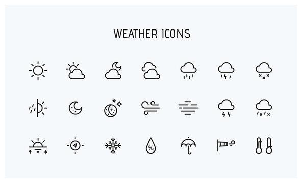Modern weather icons set. Flat vector symbols