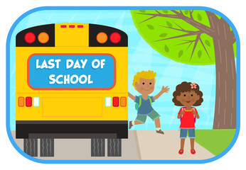 Last Day of School - two cheerful children are getting off a school bus that says last day of school. Eps10