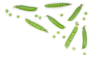 Fresh green pea pod isolated on white background. Top view. Flat lay pattern