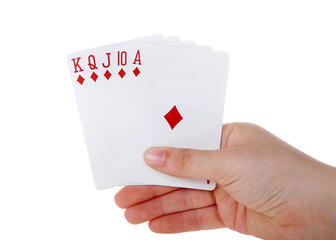 Young female hand holding Playing cards, royal flush. It is a straight flush that has a high card value of Ace. This is the highest hand in the game of poker. Diamonds. Generic cards NO FACES SHOWING
