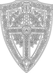 Coloring book page with decorative celtic shield on white background