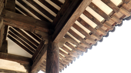 Inside the roof of the house made of wood and earth.