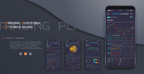 Trade exchange app on phone screen. Mobile banking cryptocurrency ui. Online stock trading interface vector eps 10. Illustration of mobile banking crypto currency, bitcoin and dollar .Vector crypto wa