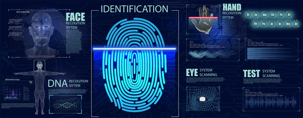 Biometrics Set HUD Elements. Authorization verification biometric scanners set of editable text and neon colored electronic interface elements for identification vector illustration