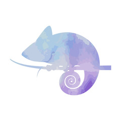 Watercolor silhouette chameleon on isolated background. Vector