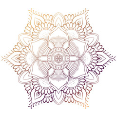 Set of vintage Wedding Invitation card with Mandala pattern and in color. Meditation element for India yoga. Ornament for decorating a greeting