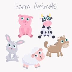 Cute farm animals. Flat design.