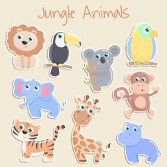 Cute jungle animals sticker. Flat design.