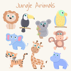 Cute jungle animals. Flat design.