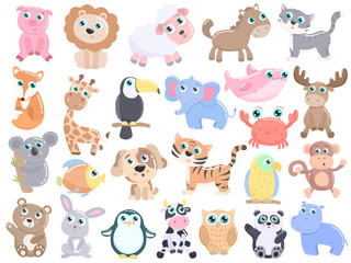Cute animals set. Flat design