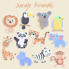 Cute jungle animals sticker. Flat design.