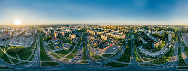 Summer Riga city Sunrise 360 VR Drone picture for Virtual reality, Street Panorama