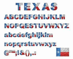 Texas flag font on a brick wall - Illustration, Stylized alphabet with flag of Texas,  Flag Of English Alphabet, Font with the Texas flag,  Stylized alphabet,  Vector Texas alphabet letters set